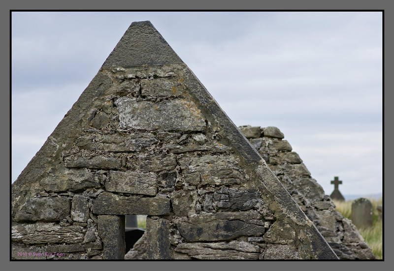 Old gable<br /> Chapel of st. Enda, east of Kileany<br /> Dated about 800 AC