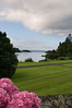 A view looking out from the back of Ashford Castle onto the lake.