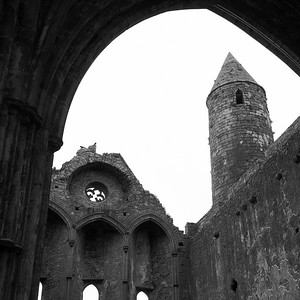 It was wet and windy in the cathedral on the Rock of Cashel.