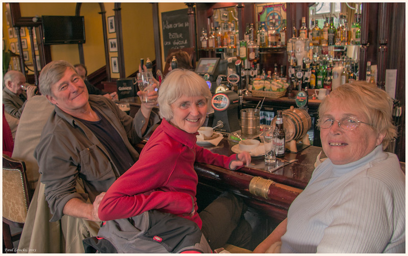 Supporting the economy in the pub at Blarney Castle. Fellow travelers in our group.