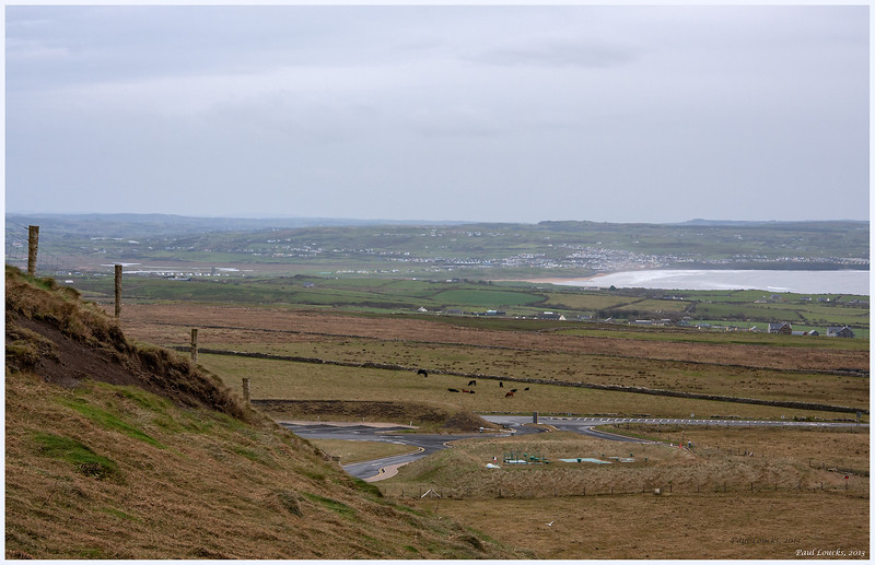 Looking back to the village of Lehinch from the Cliffs of Moher.