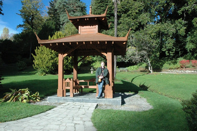 Ann by the pagoda in the Japanese Gardens at Powerscourt.