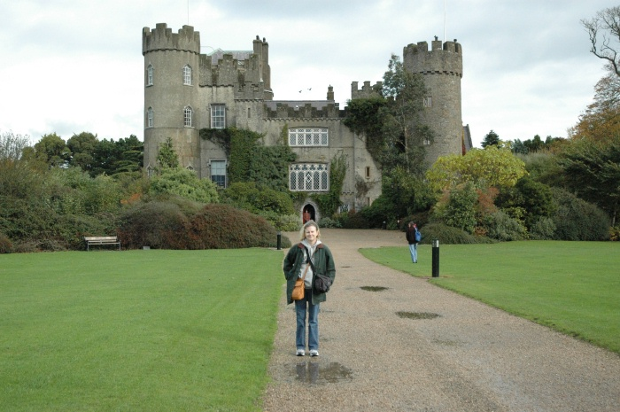 Ann in front of her dream castle