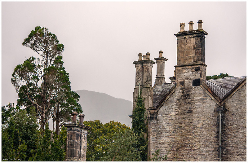 "Chimneys at Muckross House outside Killarney. This Victorian mansion was owned by the Vincent family and hosted Queen Victoria and her entourage in 1859. The property encompasses hundreds of acres, a deer farm and considerable green space including the magnificent ""Ladies View,' much admired by the Queen's Ladies-in-Waiting."