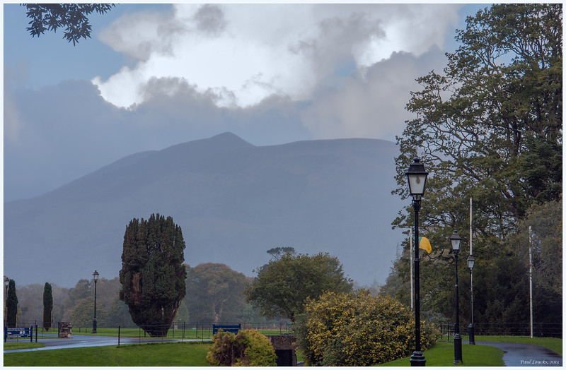 Grounds outside Muckross House along the Ring of Kerry on a rainy morning
