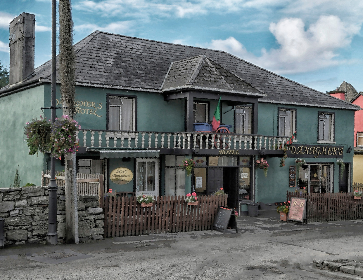 "Danagher's Hotel and Pub, Cong, County Mayo, site of the filming of the John Wayne/Maureen O'Hara classic, ""The Quiet Man."""