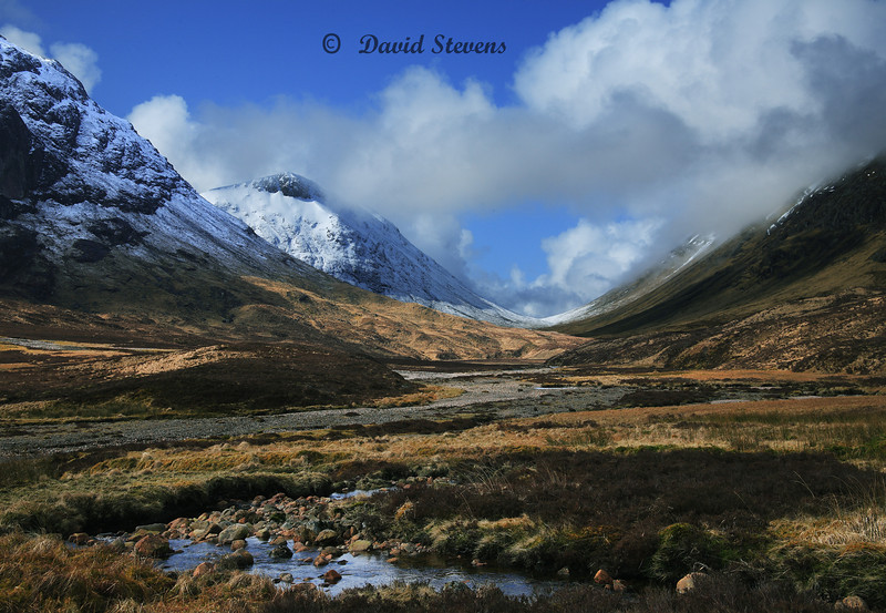 Valley Stream,Glencoe, Scotland Mid April morning after evening snow