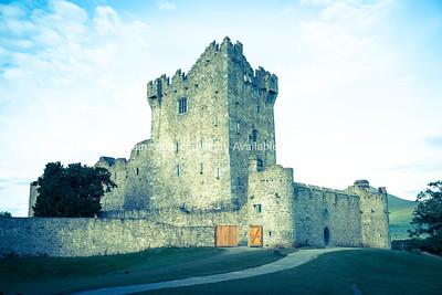 Retro image castle ruins in Ireland