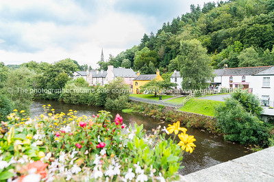 Avoca River and township, pretty small town in  Wicklow County, Ireland