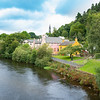 Avoca township with it's quaint picturesque homes and gardens along river in , Wicklow County, Ireland