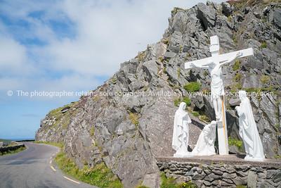 Christ on cross statue on Irish West Coast road.