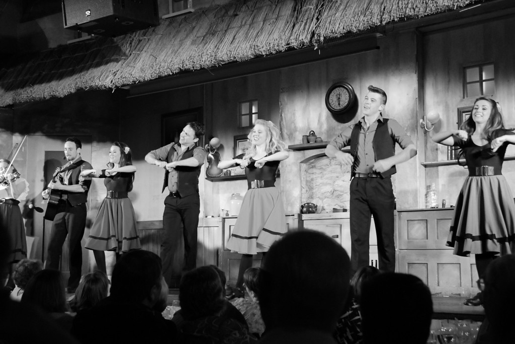 Lively dancing on Cabaret night.  (lighting was difficult to work with, so I went monochrome for this shot).
