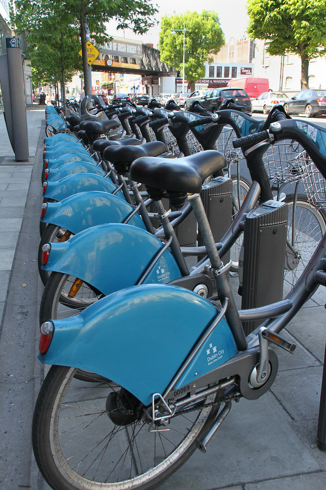 Rental bikes in Dublin.