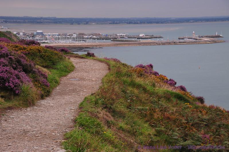 "Balscadden Bay, Howth Harbor & Village of Howth (or Binn Éadair, meaning ""Éadar's Peak"") seen from the Cliff Path"