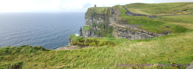 Cliffs of Moher Panorama - O'Brien's castle on top of cliff, Branounmore Sea  Stack in middle
