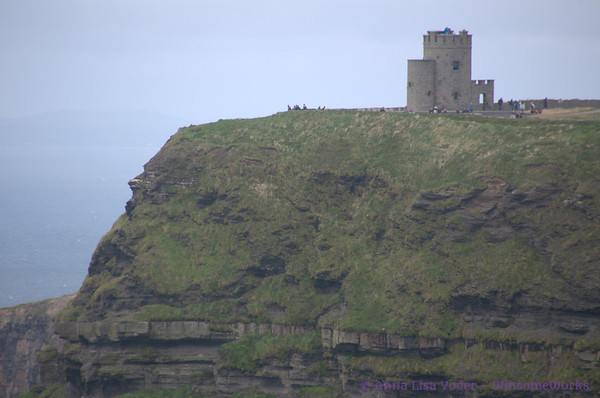 Telephoto view of O'Brien's Castle on the Cliffs of Moher