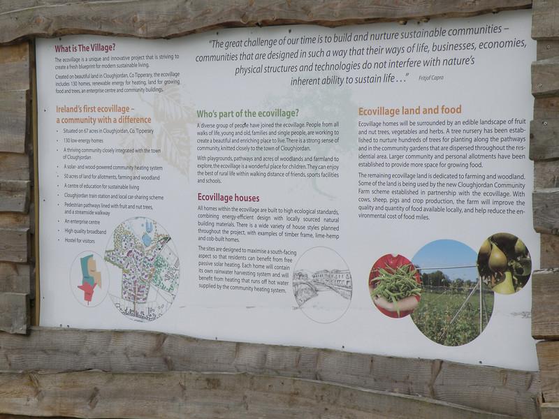 Eco-village info in Cloghjordan, Ireland.