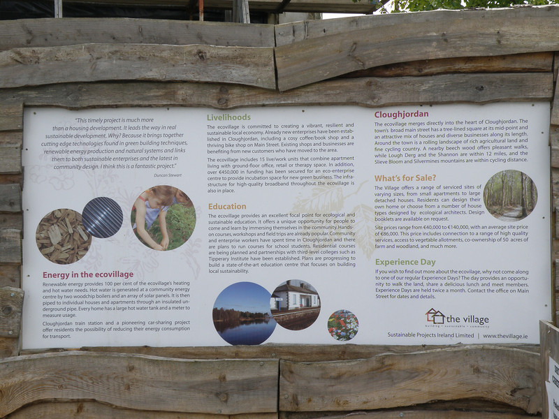 Eco-village info in Cloughjordan, Ireland (both spellings are acceptable).