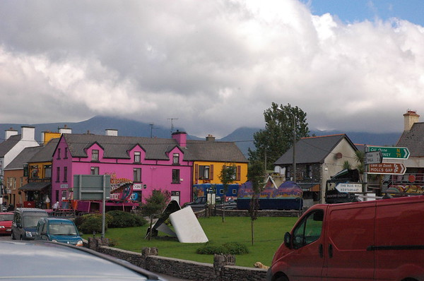All the houses are painted different colors.  It's very bright and appealing to the eye.
