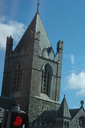 St Patrick's Cathedral.  Foundations laid in 450AD.  St Patrick came to Dublin in 432AD.  He was kidnapped by pirates.  He escaped and then had a dream that the Irish people needed him.  He returned and converted the people to Christianity.  Before, they were all pagan.  Jonathan Swift is know for being a dean here.  He wrote A Modest Proposal in response to the British government letting children starve.