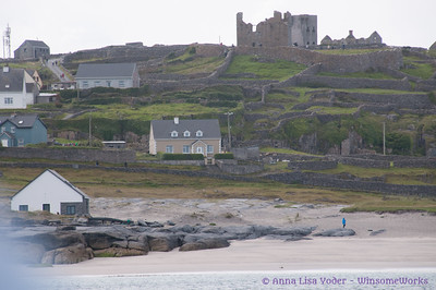 Castle ruins on Inis Oirr, seen from ferry boat