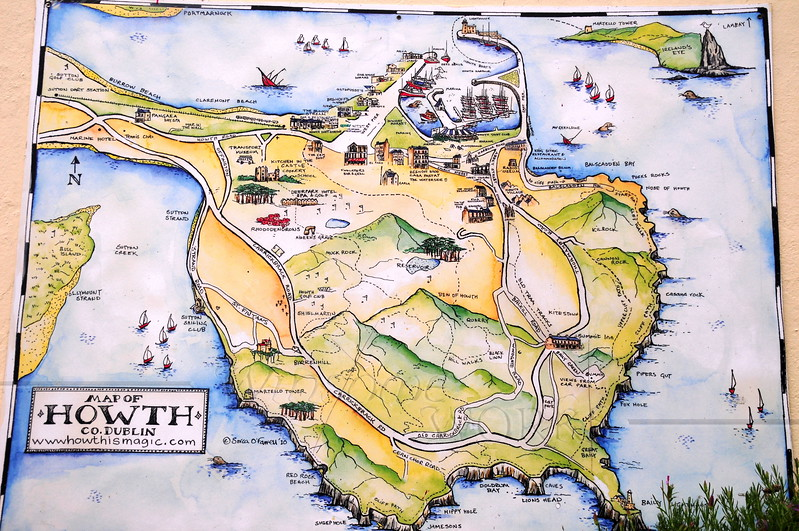 Howth map, showing Cliff Path & land features