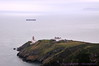 Baily Lighthouse & ship in Irish Sea, from Cliff Path