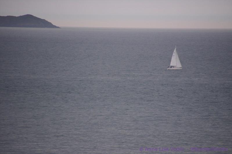 Balscadden Bay, sailboat & Ireland's Eye