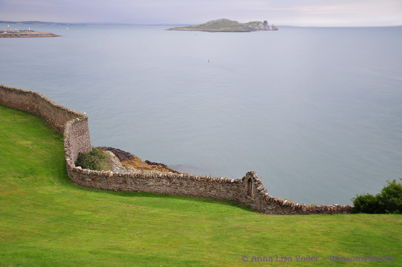 Beautiful stone fence seen from Harbour Rd on Howth Head, overlooking Balscadden Bay & Ireland's Eye