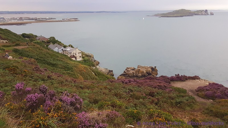 """Puck's Rocks & Balscadden Bay, with """"Ireland's Eye"""" in distance, seen from Cliff Path on Howth"""