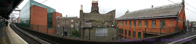 Panorama of scene across from one of the DART stations outside of Dublin