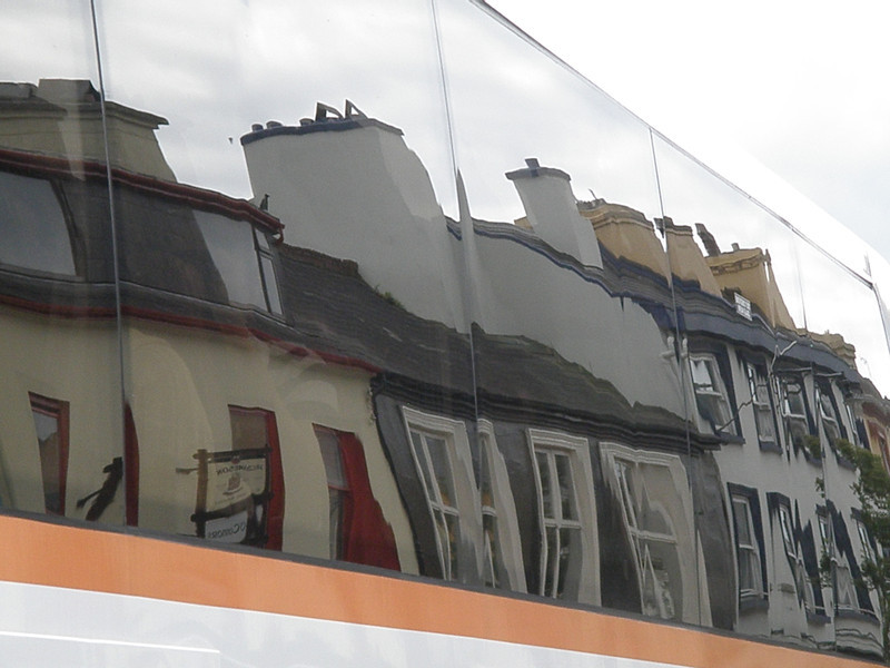 Kenmare, reflected in our tour bus.
