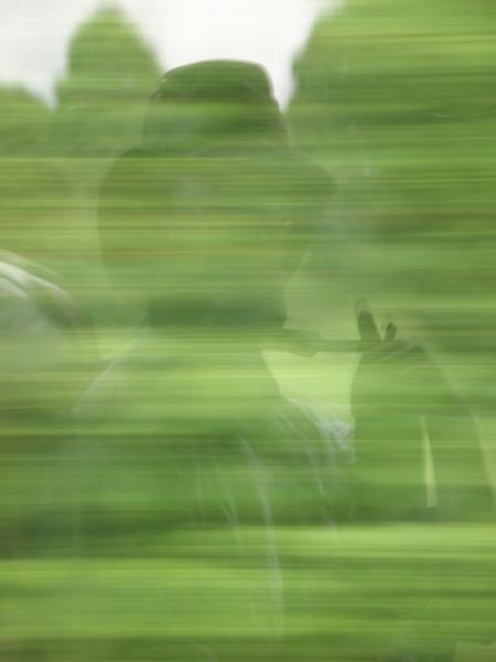 Self-portrait, bus window, Irish countryside