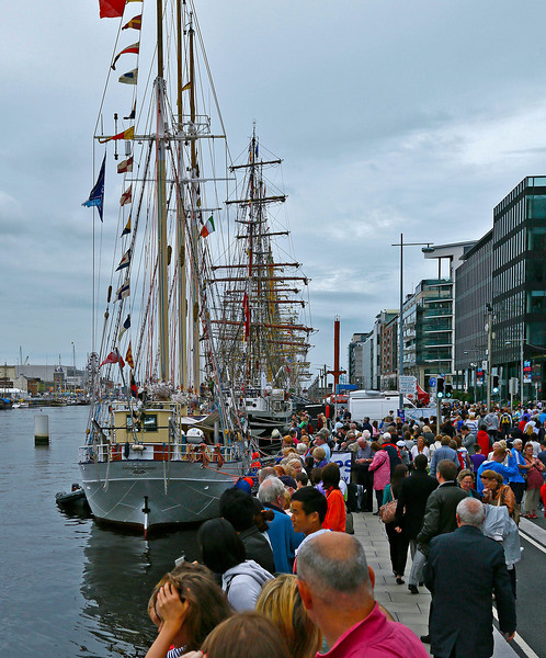 The Tall Ships created a forest of masts along the River Liffey quay.