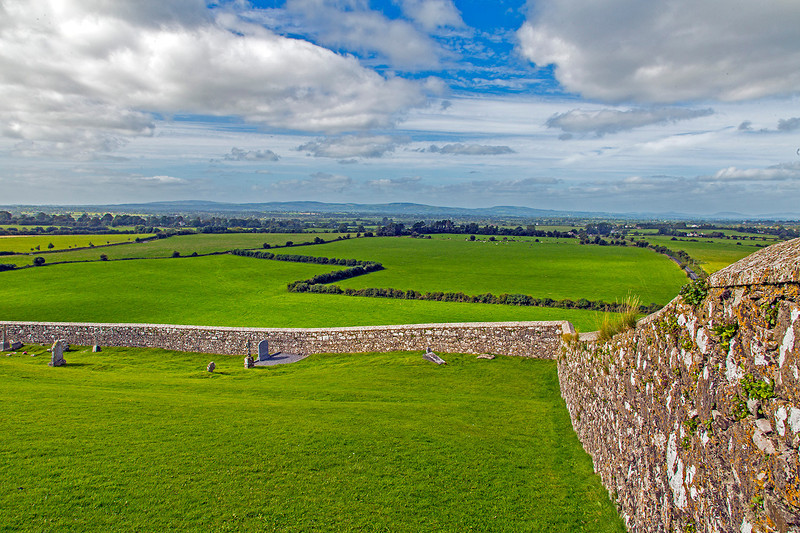 This wall encompasses the Rock of Cashel. The lush countryside lies to the North of the Rock.