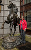 Mary with a Frederick Remington bronze statue, in front of our Dublin hotel.  In the hall near our room were a number of Southwest USA paintings and prints, of cowboys and Indians. How appropriate since we live in New Mexico!