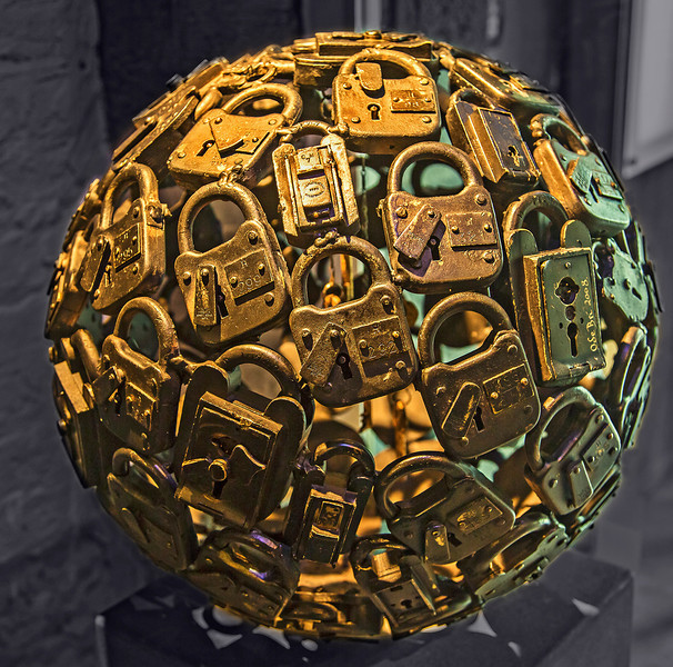 A sphere of old locks, located in the Tax Revenue office in the basement of Dublin Castle.