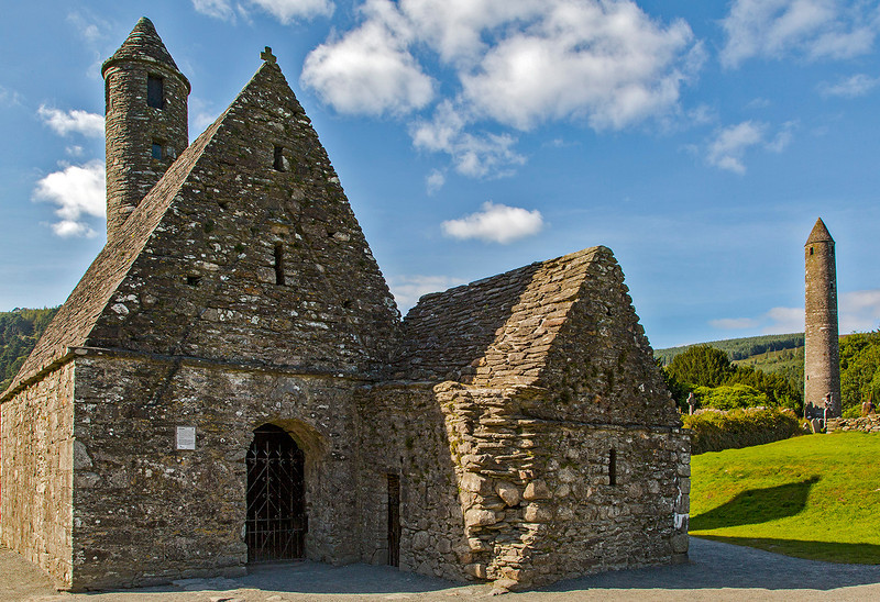 """Known as """"St. Kevin's Kitchen,"""" the round tower makes this Stone building unusual."""