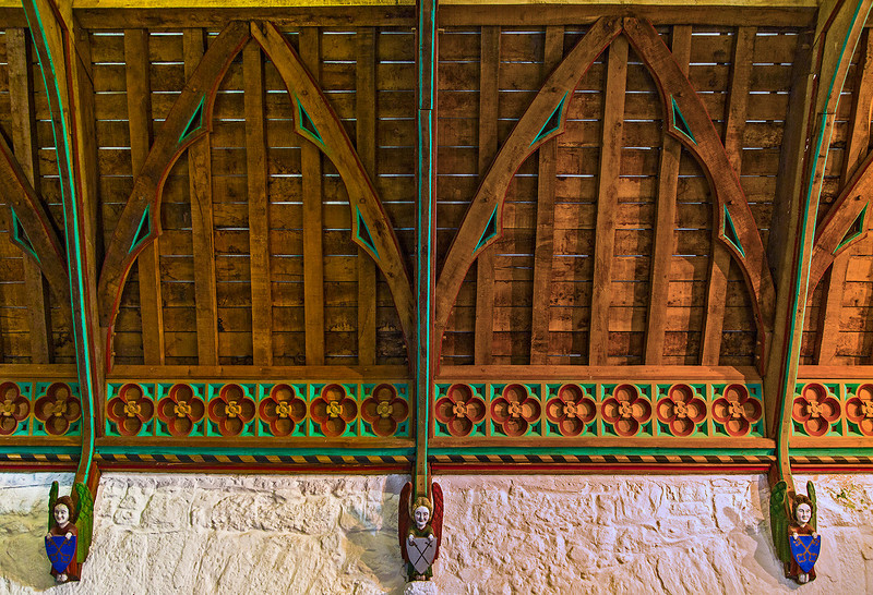 Restored ceiling of the Hall of the Vicar's Choral, which was built in the 15th century.