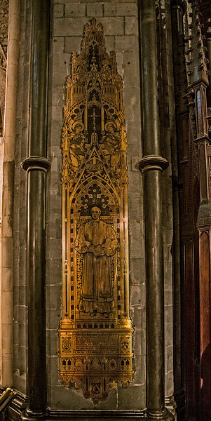 Christ Church---one of several very tall brass wall etchings.