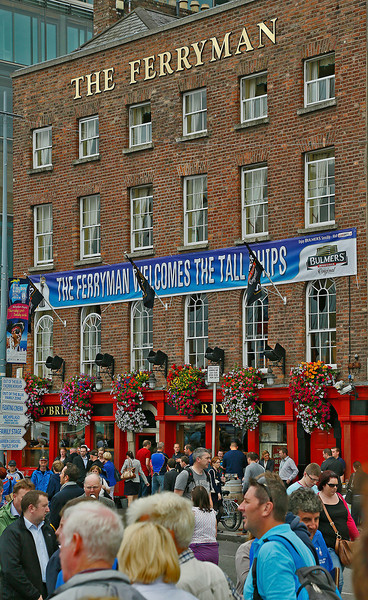 Old pub on the River Liffey quay welcoming the Tall Ships, which had begun the race in Spain and finished in Dublin. The ship from Mexico won the race.