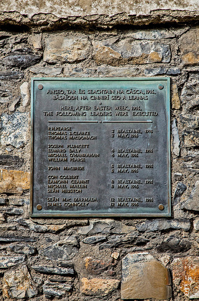 Plaque on the wall of the execution courtyard, remembering the 14 revolt leaders who were shot following the Easter 1916 siege of Dublin's General Post Office.