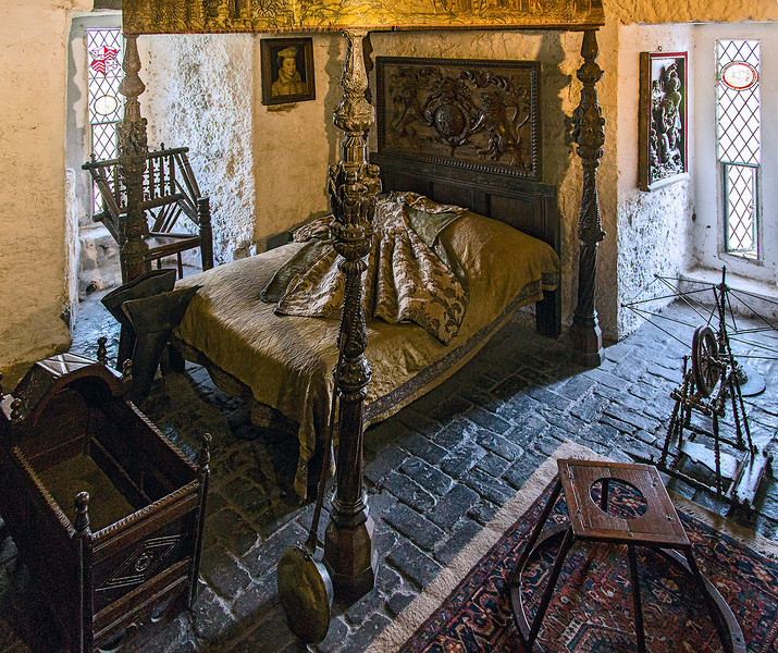 "Bedroom, located in the ""North Solar,"" the  private apartment for the Earl and his family."