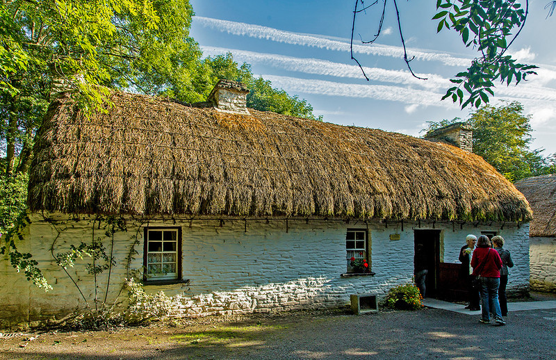 There is a Folk Village located on the grounds of Bunratty Castle. This is the house of a North Kerry salmon fisherman. Wood salvaged from the sea would have been used in its construction.