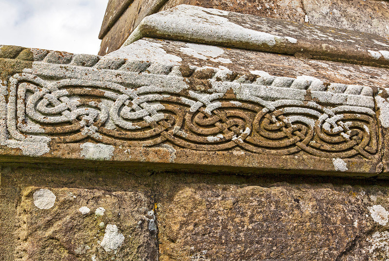 One of many elaborate patterns carved into stone.