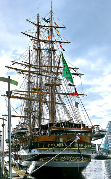 "Italian Tall Ship, ""Americo Vespucci."" Almost the entire fleet departed, under full sail, in the morning. Unfortunately we missed that colorful event."