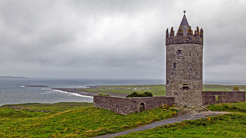 This old tower sits overlooking the sea. In the far distance, on the left, is one of the Aran Islands.