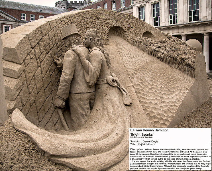 Another of the several sand sculptures In the Dublin Castle courtyard. This one depicts W.R. Hamilton scratching his famous formula on Dublin's Broom bridge wall