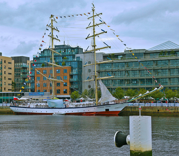 """""""Fryderyk Chopin,"""" one of two Polish Tall Ships on the RIver Liffey, Dublin."""