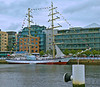 """Fryderyk Chopin,"" one of two Polish Tall Ships on the RIver Liffey, Dublin."